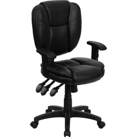 Scranton & Co Leather Mid-Back Ergonomic Office Chair with Arms in Black - image 4 of 4