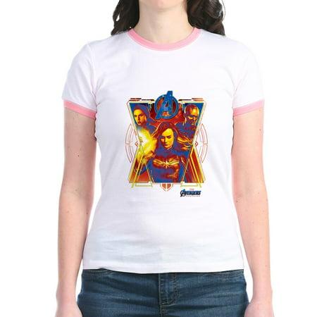 CafePress - Women Of Avengers Endgame Jr. Ringer T Shirt - Jr. Ringer T-Shirt, Slim Fit 100% Cotton - The Avengers Women