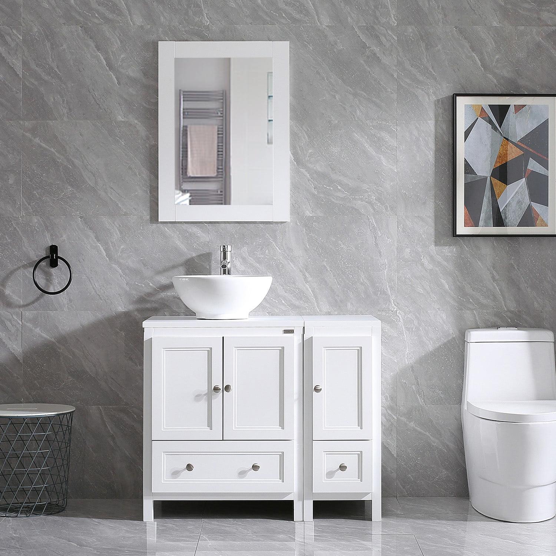 48 Black Bathroom Vanity and Sink Combo MDF Wood Vessel Sink w//Mirror Faucet and Drain