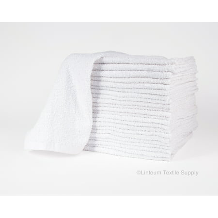 Linteum Textile (24-Pack, 16x19 in, 32 oz) White BAR MOPS Kitchen Towels, 100% Terry - Cotton Bar Towel