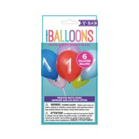 Latex Chalk Design Number 1 Balloons, Assorted, 12 in, 6ct