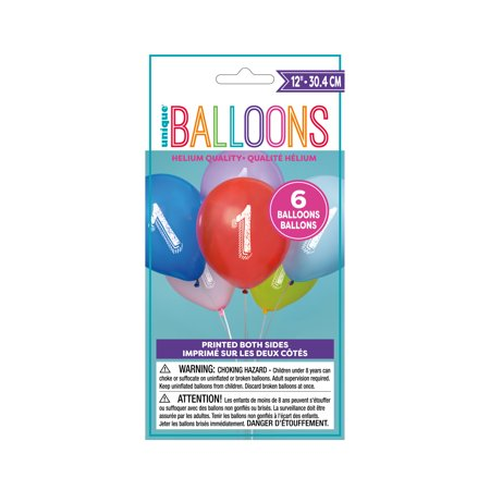 12' Assorted Number (Latex Chalk Design Number 1 Balloons, Assorted, 12 in, 6ct)