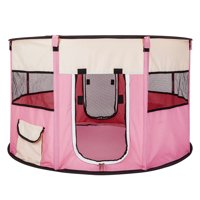 """Dog Houses for Small Medium Large Dogs, 45"""" Circular Portable Foldable Kennel for Puppy Cat, Pink Waterproof Breathable Pet Playpen Fence with Eight Panels for Small Animals"""