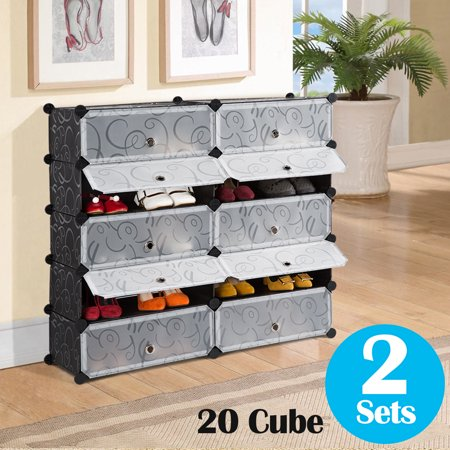 LANGRIA DIY Shoe Rack, 20 Cube Storage Drawer Unit Multi Use Modular Organizer Plastic Cabinet with Doors, Black and White Curly Pattern