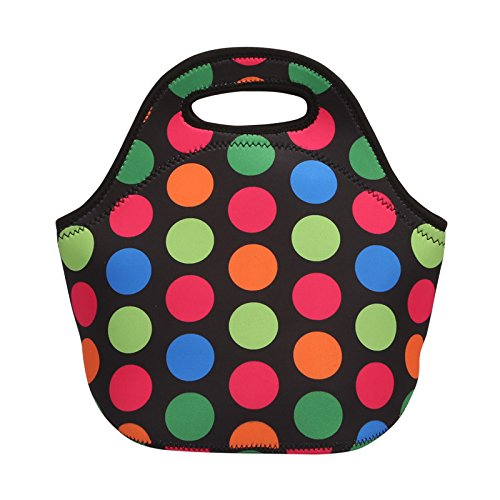 Insulated Neoprene Lunch Tote, EpicGadget Classic Durable Waterproof Reusable Picnic Lunch Bags Boxes (Colorful Polka Dot)