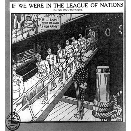 Cartoon League Of Nations NIf We Were In The League Of Nations American  Cartoon 1920 Showing John Bull (Britain) Demanding More Soldiers From Uncle