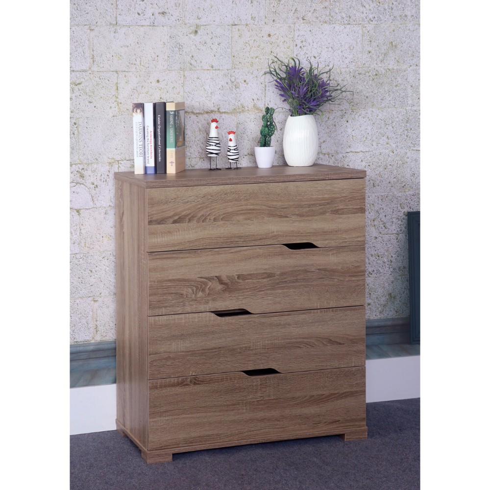 Spacious Brown Finish Chest With 4 Storage Drawers And 4 Tier.