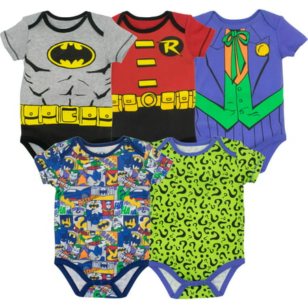 Warner Bros. Baby Boys' 5 Pack Bodysuits - Batman, Robin, Joker and - Mens Batman Onesie