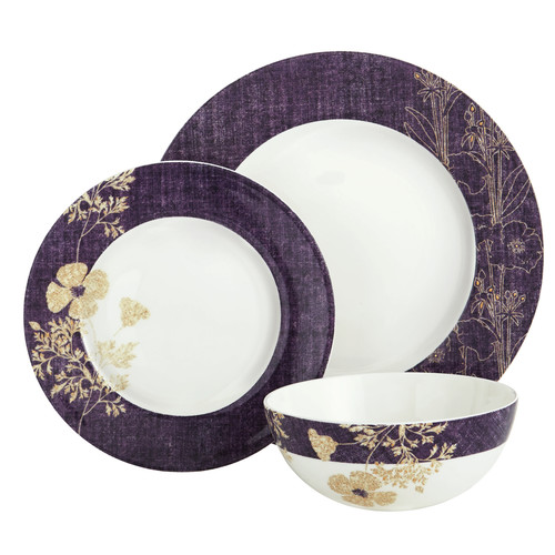 Auratic Inc. Golden Stitch 3 Piece Place Setting by