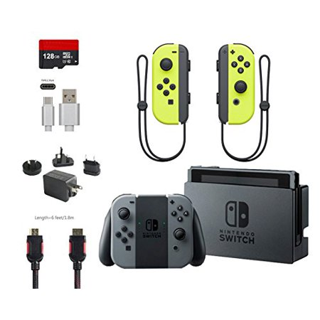 Nintendo Switch 6 Items Bundle Nintendo Switch 32Gb Console Gray Joy Con 128Gb Micro Sd Memory Card  Nintendo Joy Con  L R  Wireless Controllers Yellow Type C Cable Hdmi Cable And Wall Charger