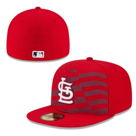 St. Louis Cardinals New Era Stars & Stripes 4th of July Diamond Era 59FIFTY Fitted Hat - Red Reds And Striped Hat
