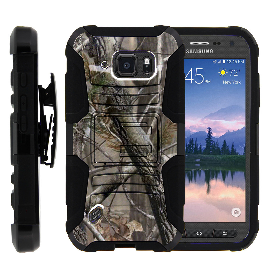 Samsung Galaxy [S6-Active] Case | G890 Case [ Clip Armor ] Rugged Impact Defense Case with Built in Kickstand + Holster - Nature's Camouflage