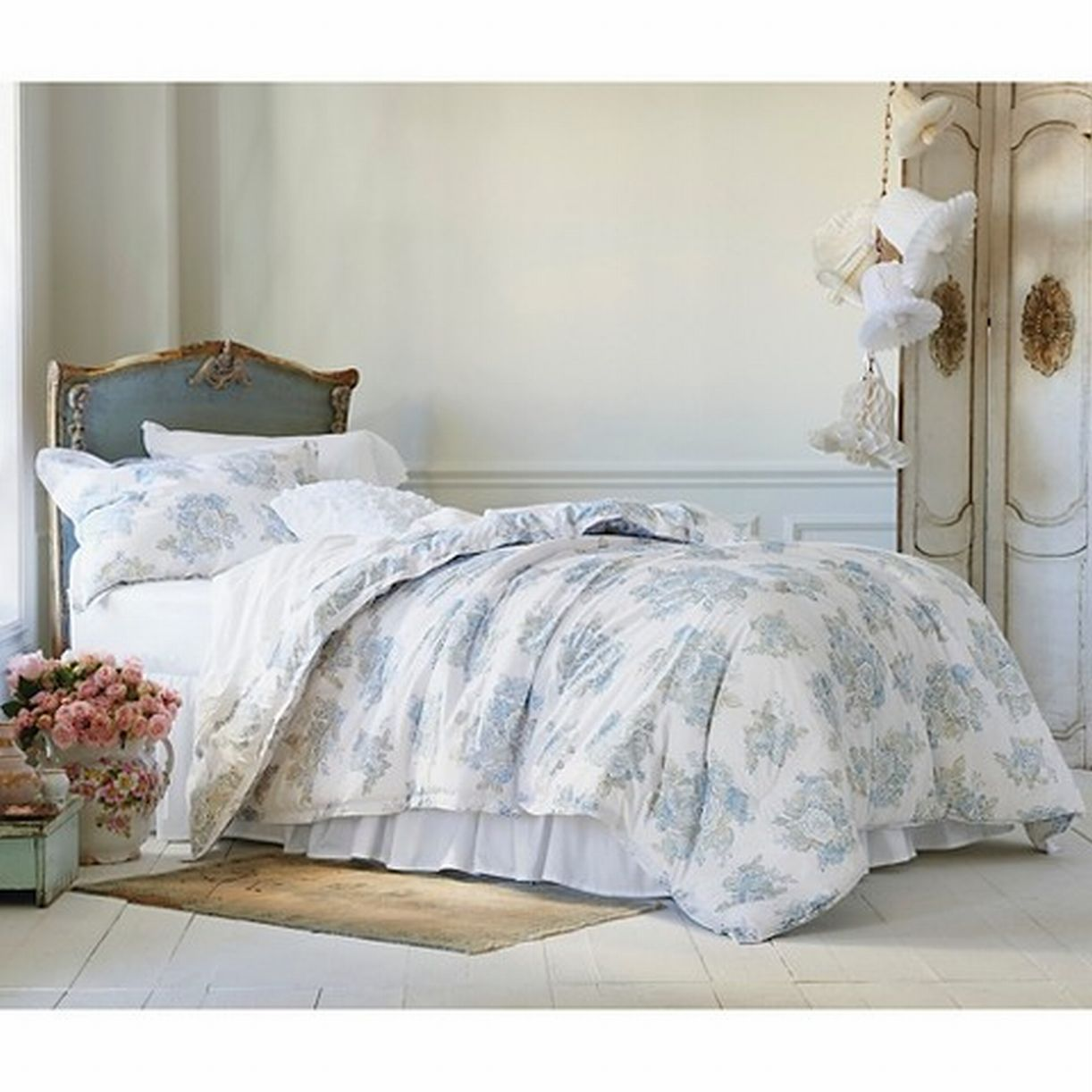 Phenomenal Simply Shabby Chic King Bed Comforter Shams Set Pretty Blue Floral 3 Pc Download Free Architecture Designs Scobabritishbridgeorg