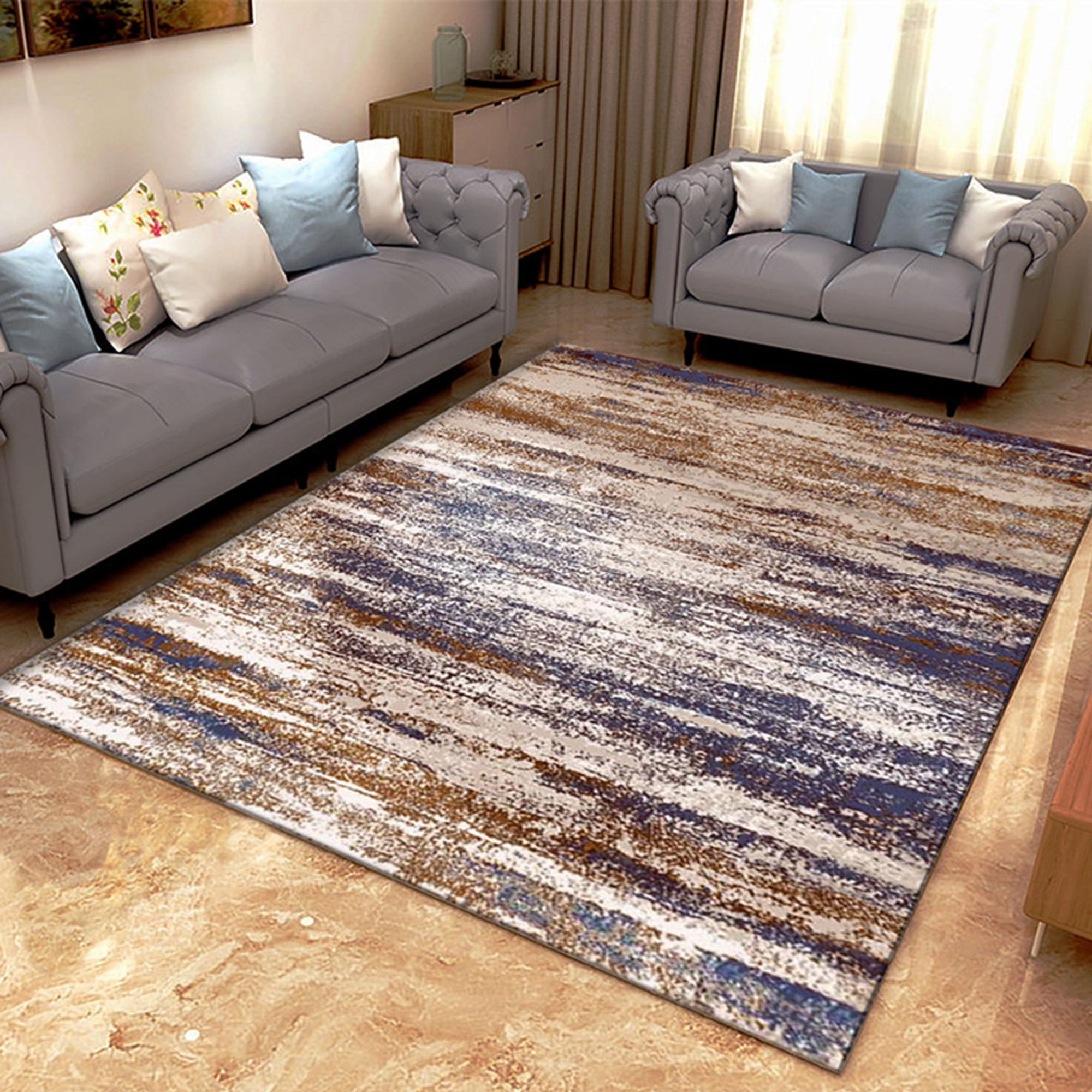 Nk Abstract Faded Area Rug Or Runner Boho Vintage Diamond Blue Brown Gray Bohemian Easy Cleaning For Bedroom Kitchen Living Room Non Shedding Walmart Com