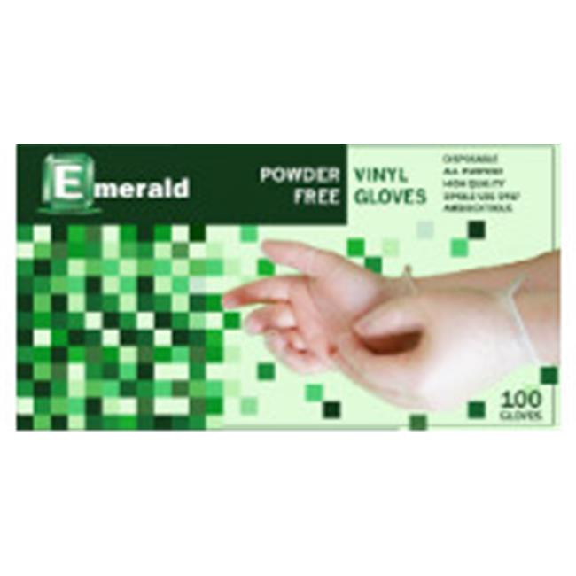 Emerald VN9708 Shannon Powder-Free Vinyl Disposable Gloves -Large, Case of 1000