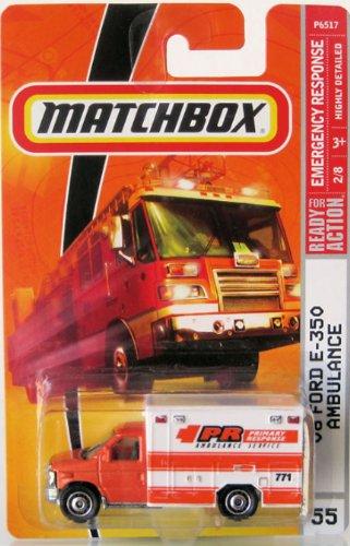 AMBULANCE Matchbox 2009 #55 '08 Ford E-350 Ambulance Orange White 1:64 Scale Collectible... by Mattel
