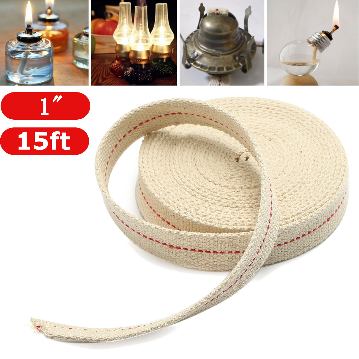 15 Foot Oil Lamp Mate Flat Wick Cotton Oil Lantern or Oil Lamp Wick Fiber Alcohol For Oil Lamps and Lanterns ,1'' 15ft... by