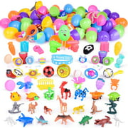 100 Pieces Filled Easter Eggs Toys for Easter Theme Party Favor, Easter Eggs Hunt, Easter Basket Stuffers, Classroom Prize Supplies F-297