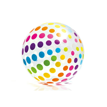 Intex Jumbo Inflatable Glossy Big Polka-Dot Colorful Giant Beach Ball | - Giant Inflatable Sports Balls