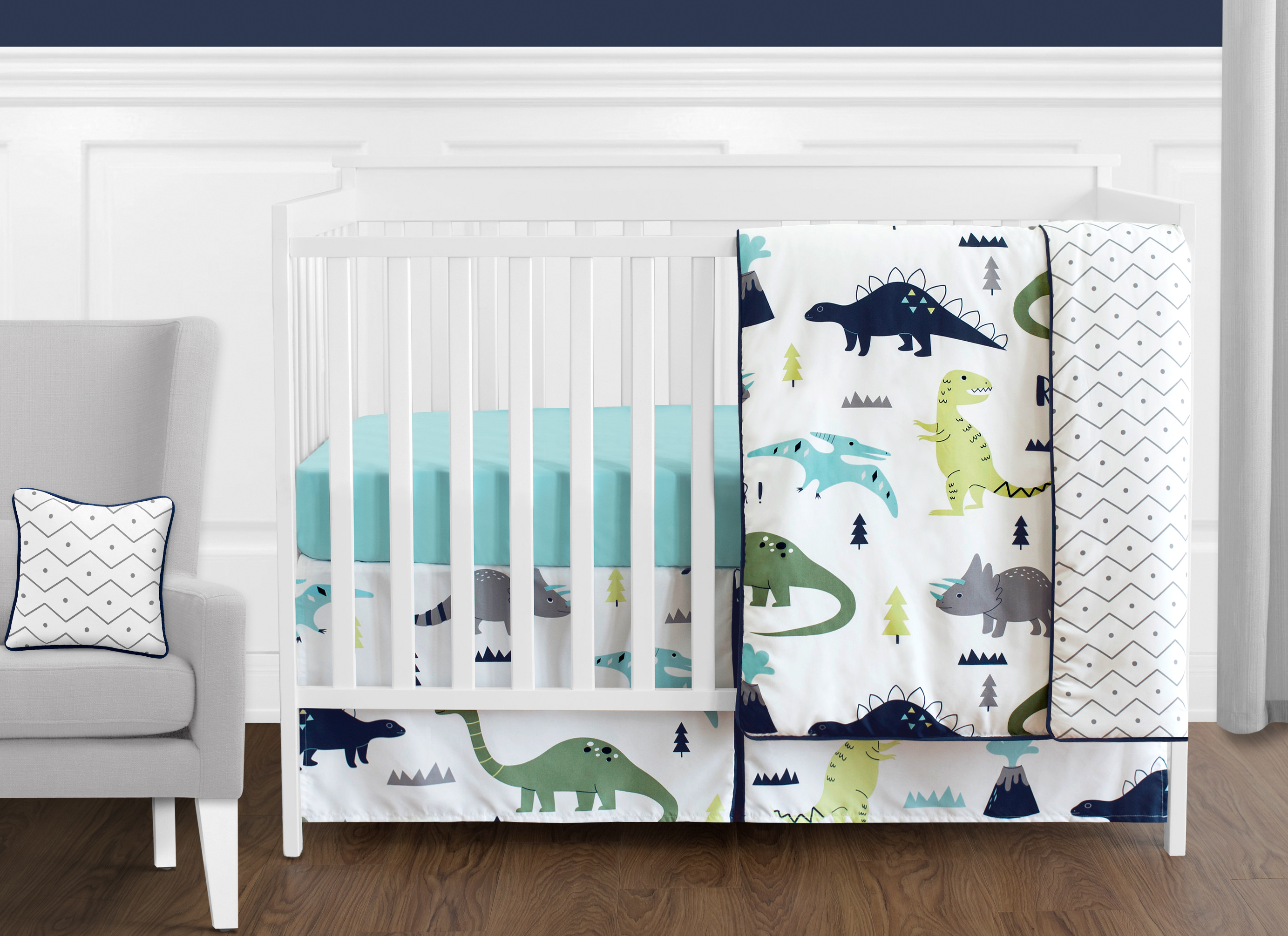 11pc Crib Bedding Set For The Blue And Green Mod Dinosaur Collection By Sweet Jojo Designs Walmart Com