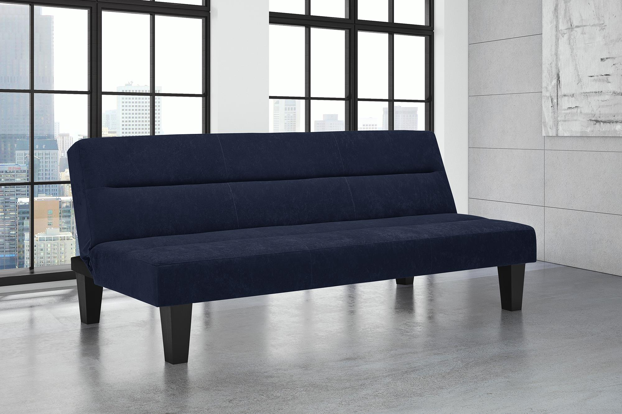 Modern Kebo Futon Sofa Couch W Microfiber Cover Lightweight Sleek Blue