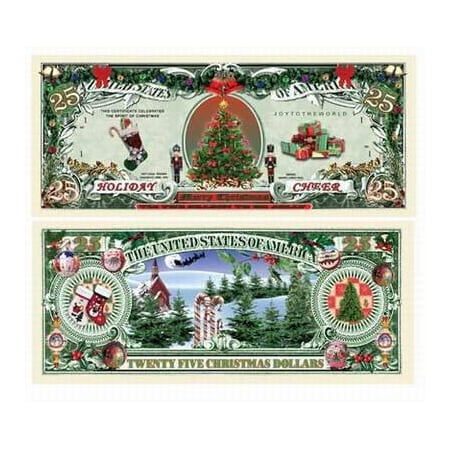 Christmas Tree Bill.Holiday Cheer 25 00 Christmas Tree Collectible Novelty Money With Bill Protector Fake Money By American Art Classics