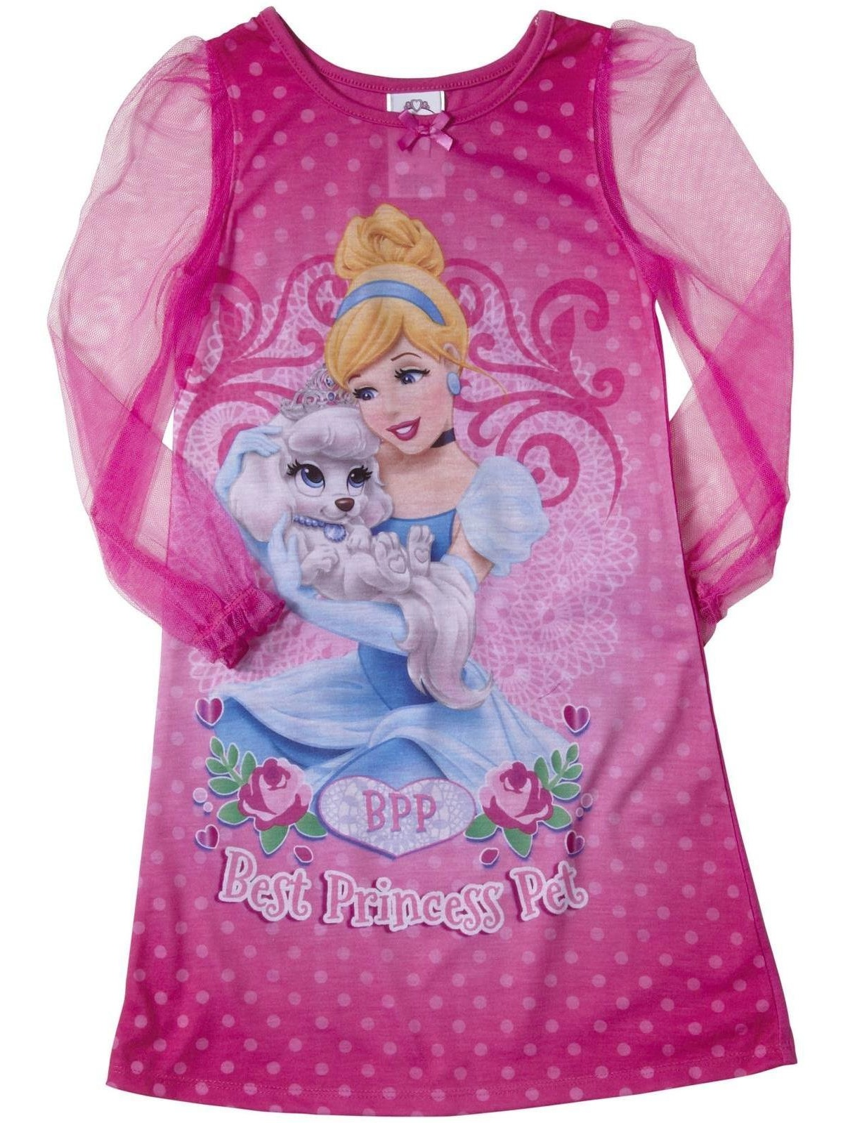 Disney Little Girls Princess Palace Pets Toddler Gown, Nightgown sizes 2T-4T, Cinderella Long Sleeve, Size: 2T
