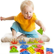 Christmas New Year Toy Wooden Educational Preschool Toddler Toy for 1 2 3 4+ Years Old Boy Girl Baby Shape Sorter Learning Sensory Toy Wooden Puzzle Christmas Birthday Gift Sorting Stacking