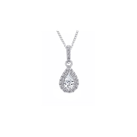 14K Solid Gold Pear Cut Natural Diamond Frame Teardrop Pendant Necklace (1/3 Ct, I-J (14k Yg Frame)
