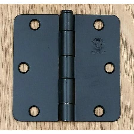 Black Door Hinges 3.5 Inch with 1/4 Inch Radius Penrod Interior- 2 (Colonial Black Hinge)