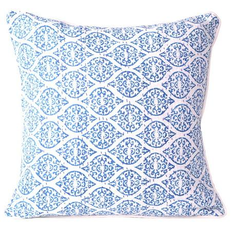 - Blue Decorative Throw Pillows Cushion Covers Cotton Indian Sofa Couch Decorative Pillowcase Patio Throw Pillow Cushion Cover 16 X 16 Inch