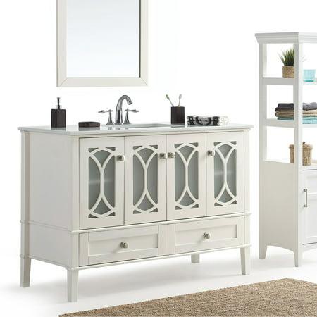 Simpli Home Paige 48 Bath Vanity With White Quartz Marble Top