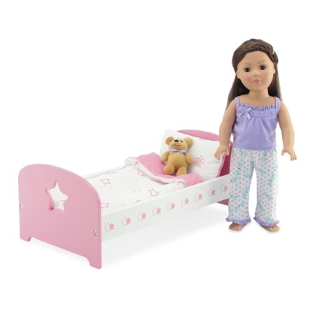 18 Inch Doll Bed Furniture Clothes | Sleeping Value Bundle Includes Pink and White Single Bed with Reversible Bedding and Adorable Dragonfly Print 2 Piece Pajama PJ Outfit with Teddy Bear | Fits 18