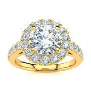 14 Karat Yellow Gold 2 1/4 Carat Classic Round Halo Diamond Engagement Ring Size 8.5