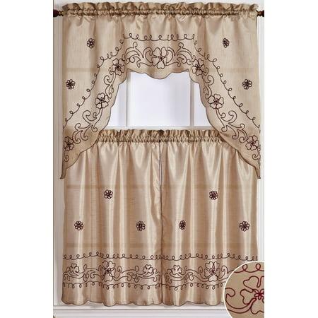 Dainty Home Dream Curtain Set in Tan/Burgundy (Dainty Floral Vine)