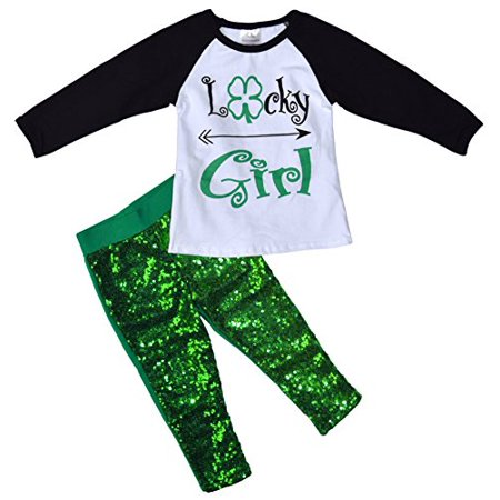 Unique Baby Girls St. Patrick's Day Lucky Girl 2-Piece Sequins Legging Set - Hot St Patrick's Day Outfits