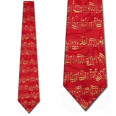Gold Music Notes on Staff Red Necktie Mens Tie by