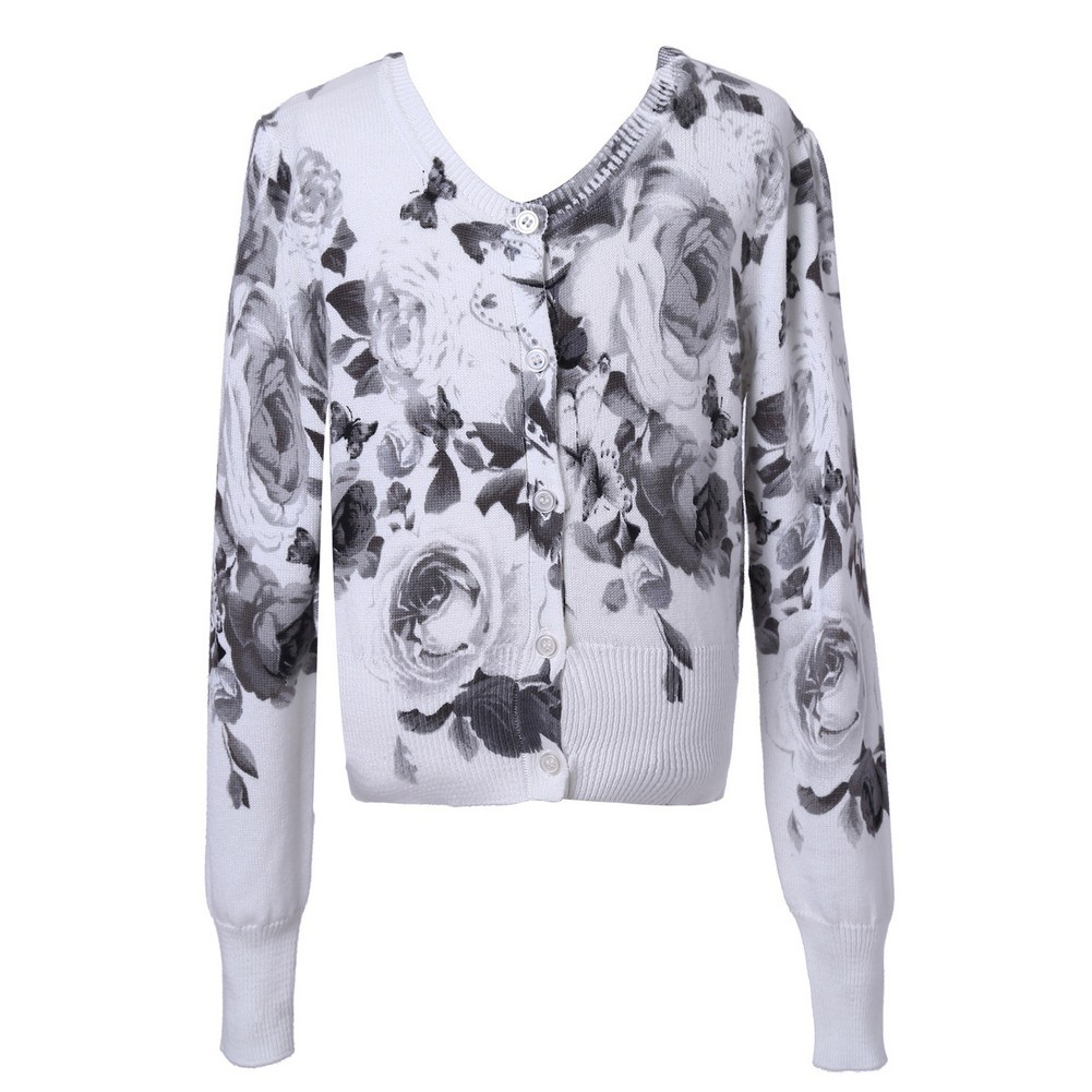 Richie House Girls White Grey Roses Print Cotton Cardigan Sweater 7-12