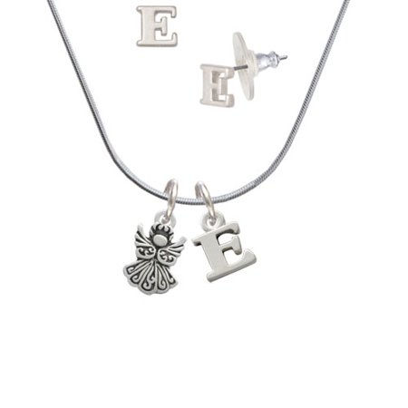 Right Angle Stud - Small Angel - E Initial Charm Necklace and Stud Earrings Jewelry Set