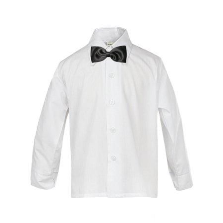 Baby Boy Formal Tuxedo Suit WHITE Button Down Dress Shirt  Black Bow tie SM-4T (Down Suit)