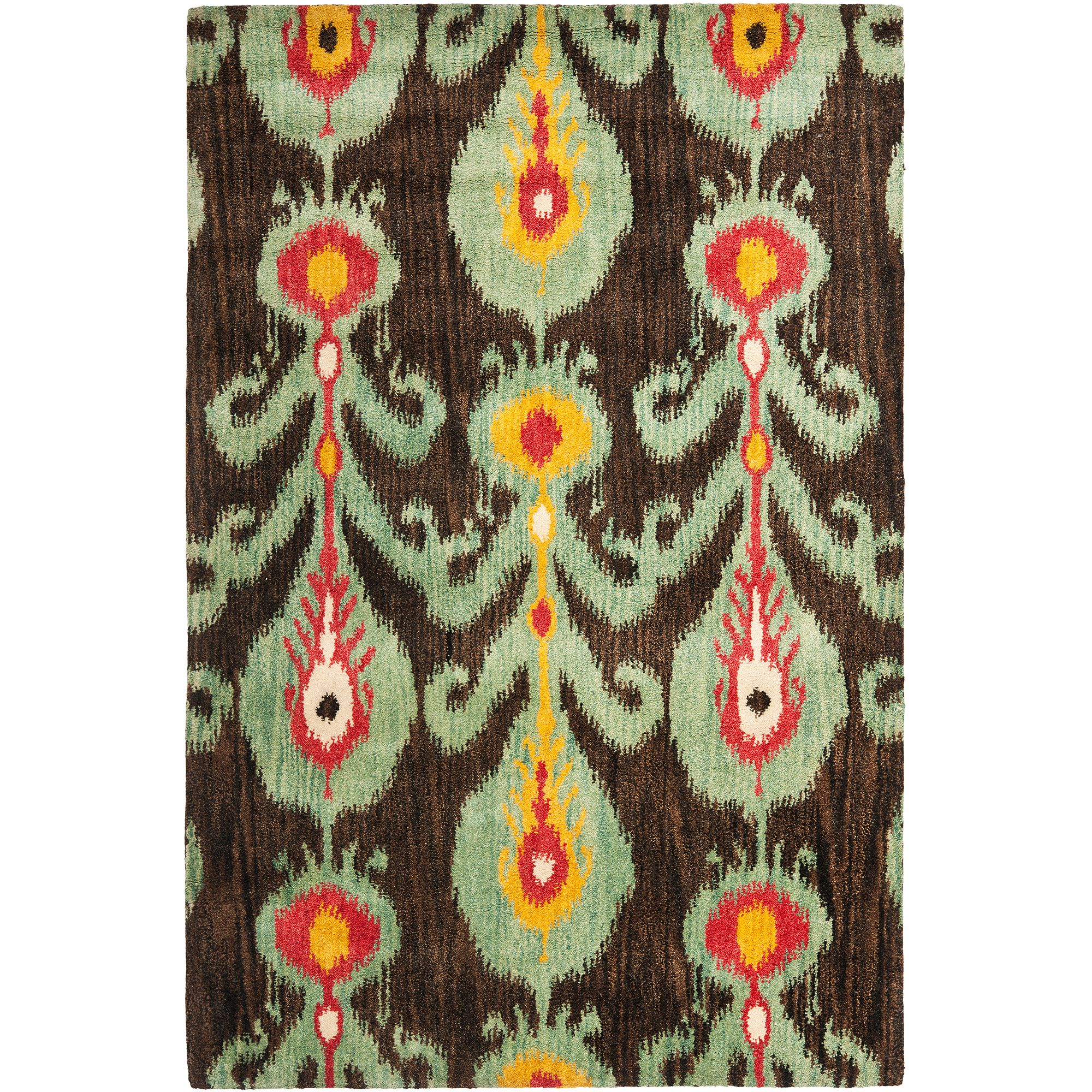 Safavieh Ikat Abbot Hand Tufted Wool Area Rug, Charcoal and Blue