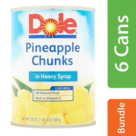 - (6 Pack) Dole Pineapple Chunks in Heavy Syrup, 20 oz Can