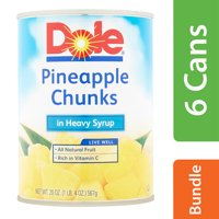 (6 Pack) Dole Pineapple Chunks in Heavy Syrup, 20 oz Can