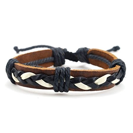 Fashion Jewelry Trendy Fashionable Leather braided hemp adjustable bracelet - black, white and brown colors
