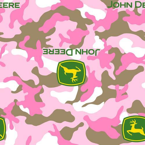 Springs Creative John Deere Logo Camo Pink Fabric by the Yard
