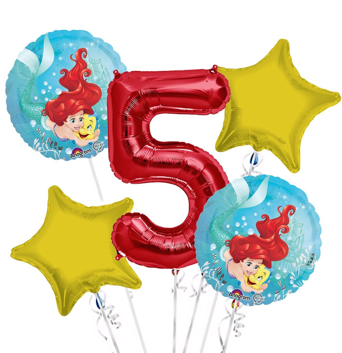 Ariel Balloon Bouquet 5th Birthday 5 pcs - Party Supplies, 1 Giant Number 5 Balloon, 34in By Viva Party