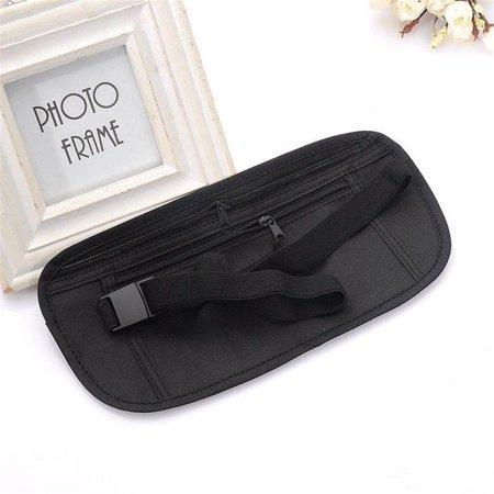 Travel Money Passport ID card Waist Security Hidden Belt Holder Bag 13 x 26cm Black ()