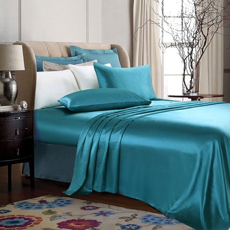 4-PC Turquoise Satin Silky Sheet Set Queen Size Flat Fitted Pillows