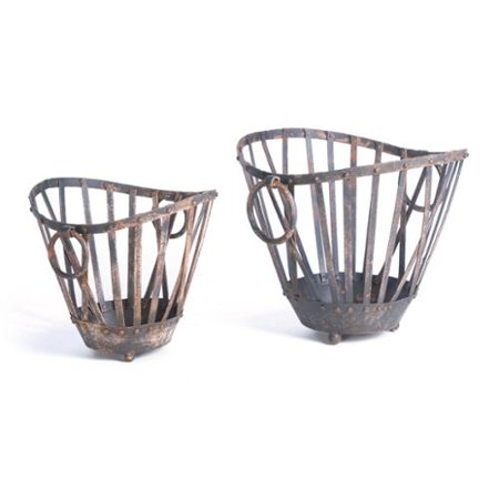 GO Home Ltd Painted Round Iron Baskets (Set of 2)