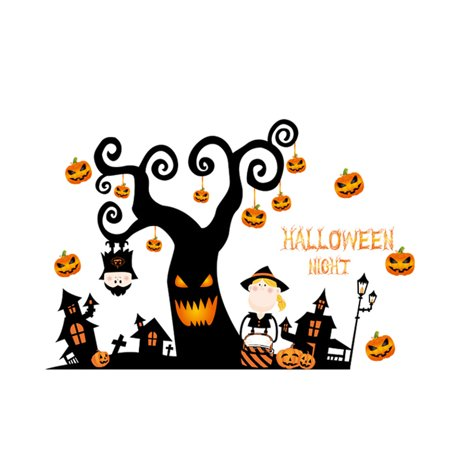 PVC Pumpkin Tree Print Halloween Decoration Wall Sticker Decal Orange - Halloween Wall Decorations